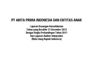 Laporan Keuangan Konsolidasi Tahun yang Berakhir 31 Desember 2012